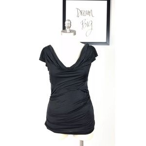 Diane Von Furstenberg Black Drapey Blouse Large